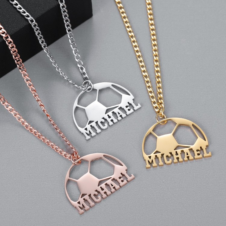 Gold Silver Rose Gold Custom Name Necklace High Quality Custom One Name Necklace Beceff Jewelry For Women Soccer Season Name Necklace FIFA Ball Name Necklace Personalized Jewelry For Women