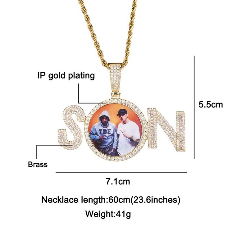 Personalized Custom Photo Necklace High Quality image Photo Frame Name Necklace For Casual Wear Bespoke Photo Frame Name Necklace Shine Bling Jewelry
