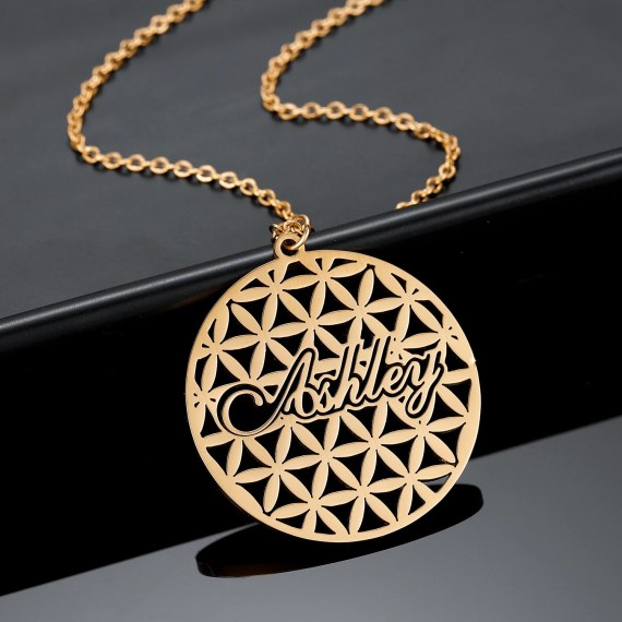 Personalized Jasmine Flowers Name Necklace For Women High Quality Custom Made Nameplate Necklace Beceff Jewelry For Women And Young Girls Name Necklace With Floral Design For Young Ladies