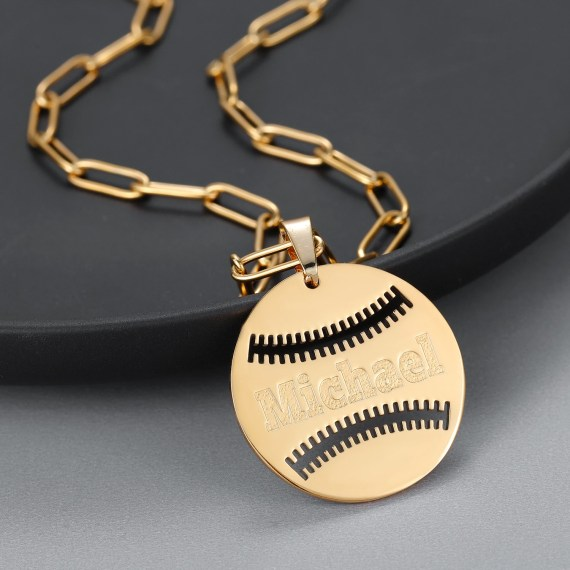 Premium Quality Nameplate Necklace High Quality Custom Name Necklace Baseball Ball Name Necklace Personalized Name Necklace For Women And Men Simple Name Engraved Necklace