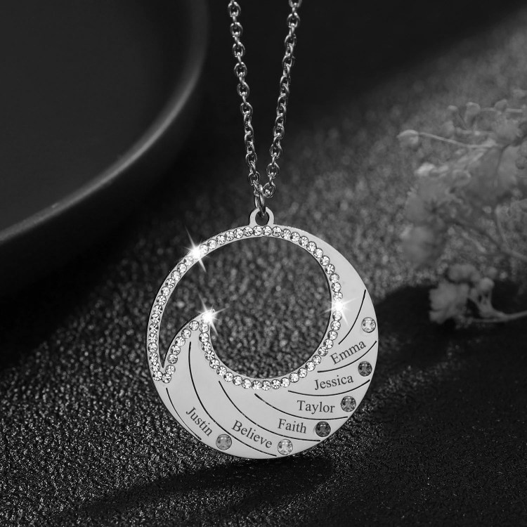 Silver Color Plated Custom Family Names Necklace Personalized Jewelry Pieces For Women Engraved Names Necklace Minimalist Charm With Birth Stones Names And Birth Months Pendant