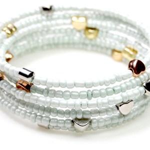Spiraal armband hartjes white diamond