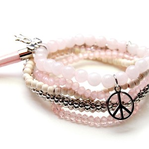 Armbandset roze peace