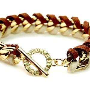Armband gevlochten ketting goud bruin