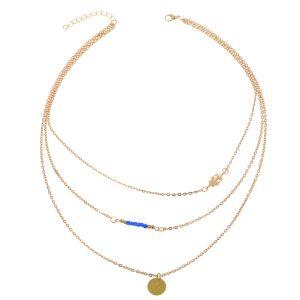 Layered ketting goud met blauwe kraaltjes