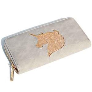 Glitter Unicorn grijs wallet