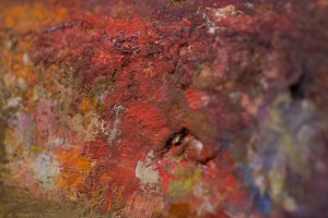 Closeup of artist's paint palette. HHM museum collection.