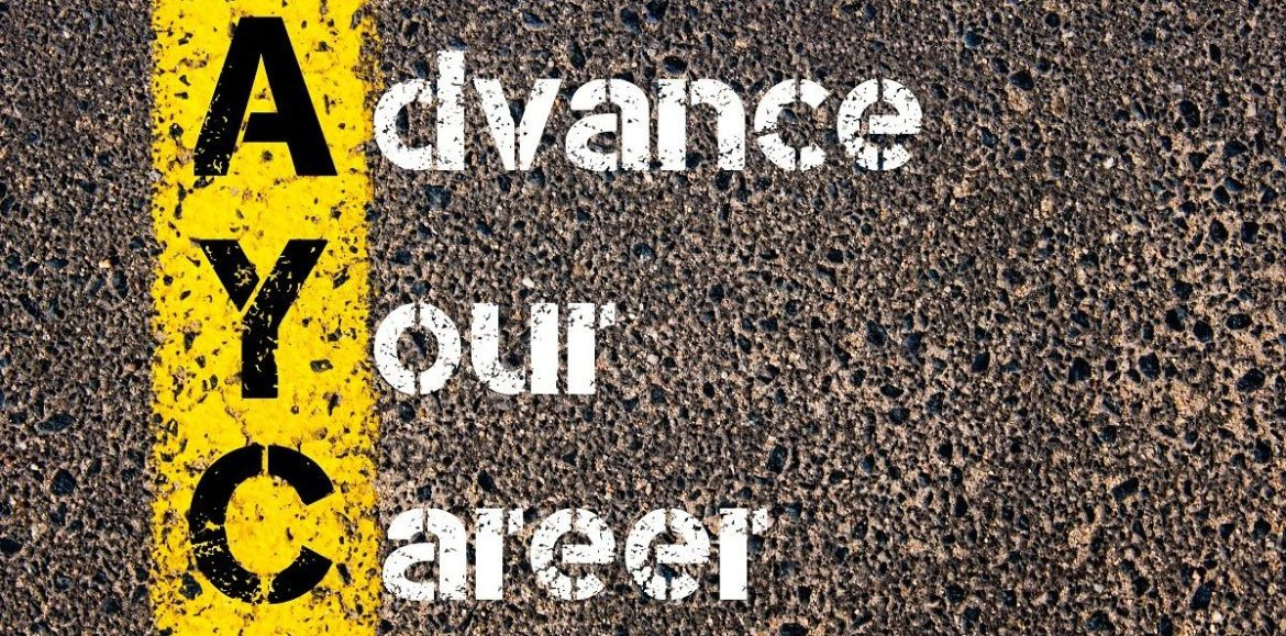 Concept image of Business Acronym AYC ADVANCE YOUR CAREER written over road marking yellow paint line.