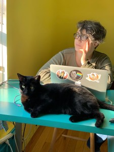 Me at my desk (with a cat)