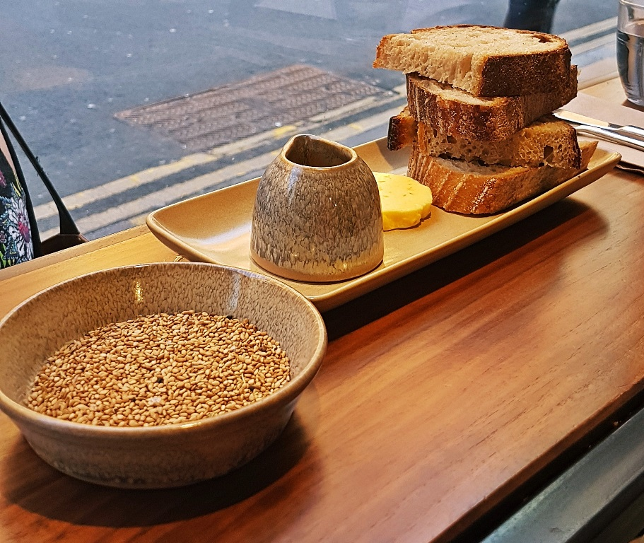 Bread, cured yolk butter, rapeseed oil and za'atar - Breakfast For Dinner at Laynes Espresso, LIF review by BeckyBecky Blogs