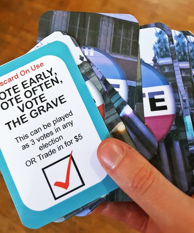 Vote Cards at City of Shadows - City of Shadows Megagame After Action Report by BeckyBecky Blogs