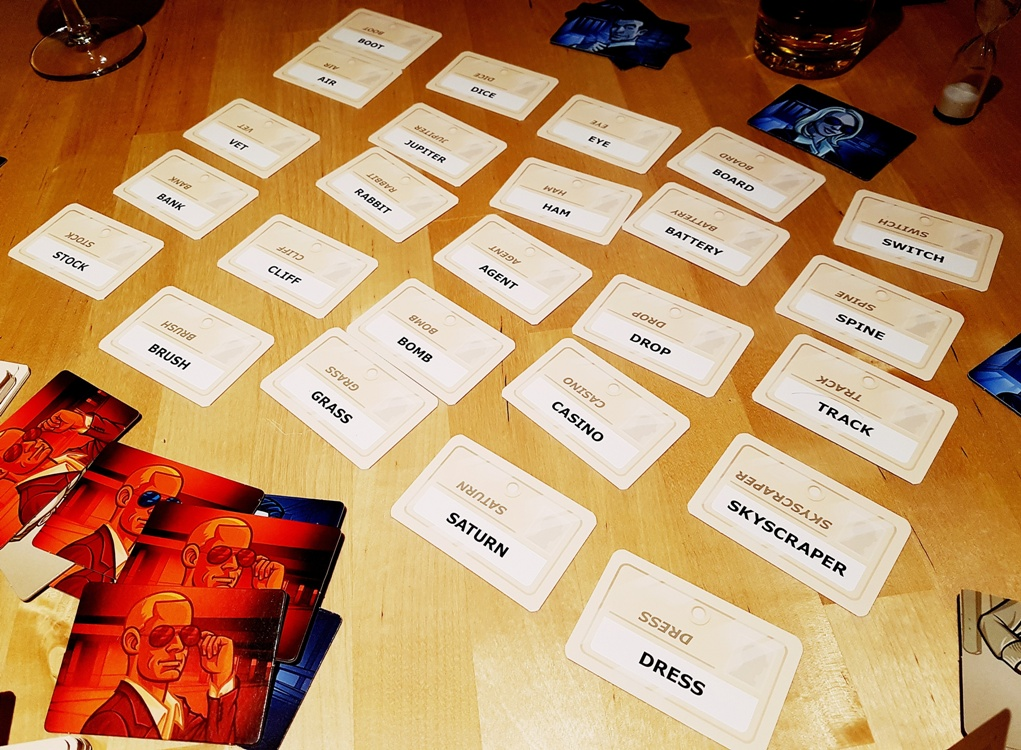 Codenames tabletop card game layout