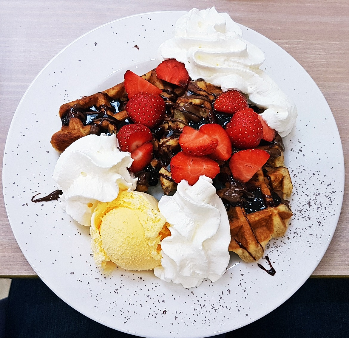 Waffle with Nutella and strawberries - Creams British Luxury Leeds Restaurant Review by BeckyBecky Blogs