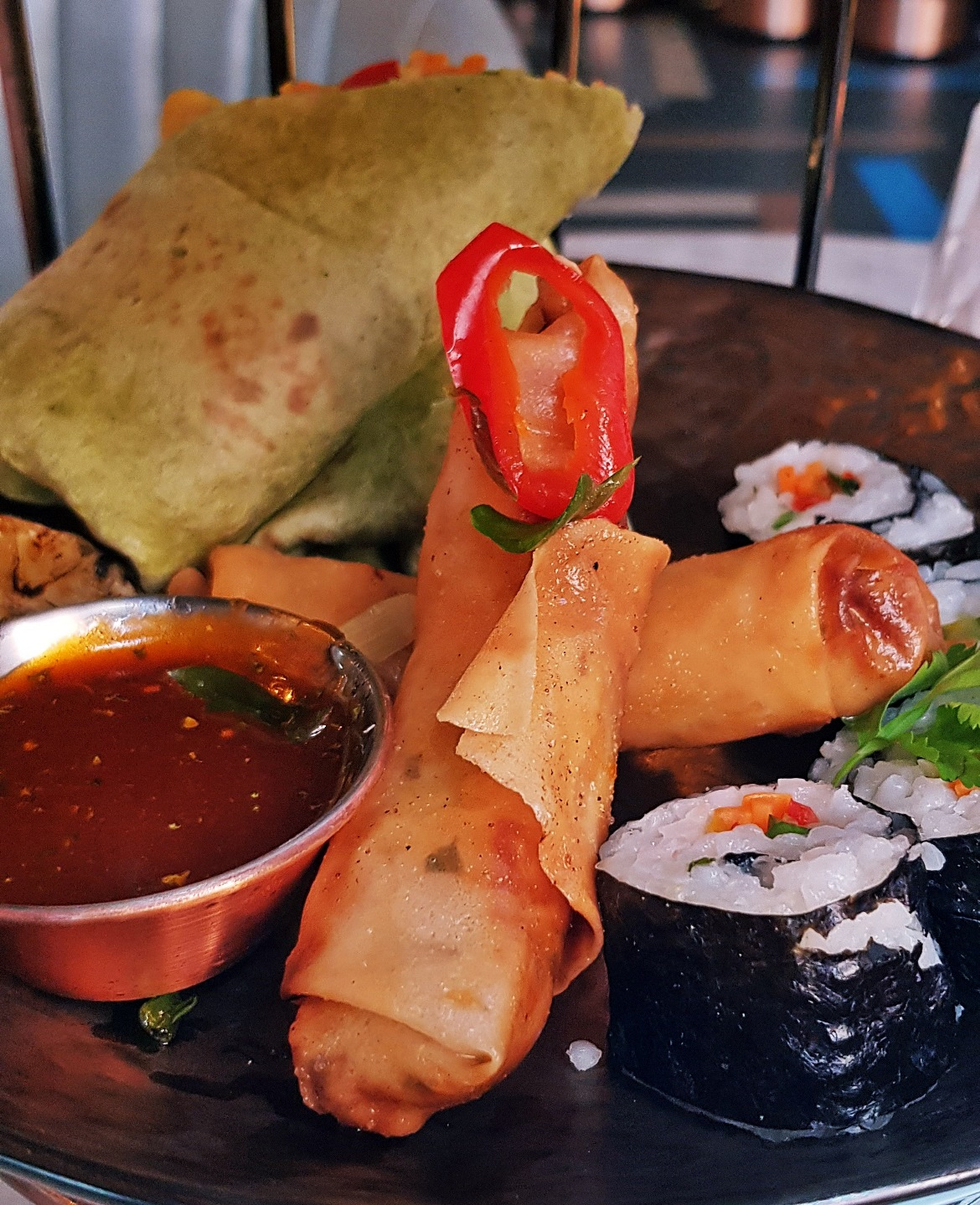Spring rolls, halloumi wrap and sushi - Bottomless Brunch at Dirty Martini, review by BeckyBecky Blogs