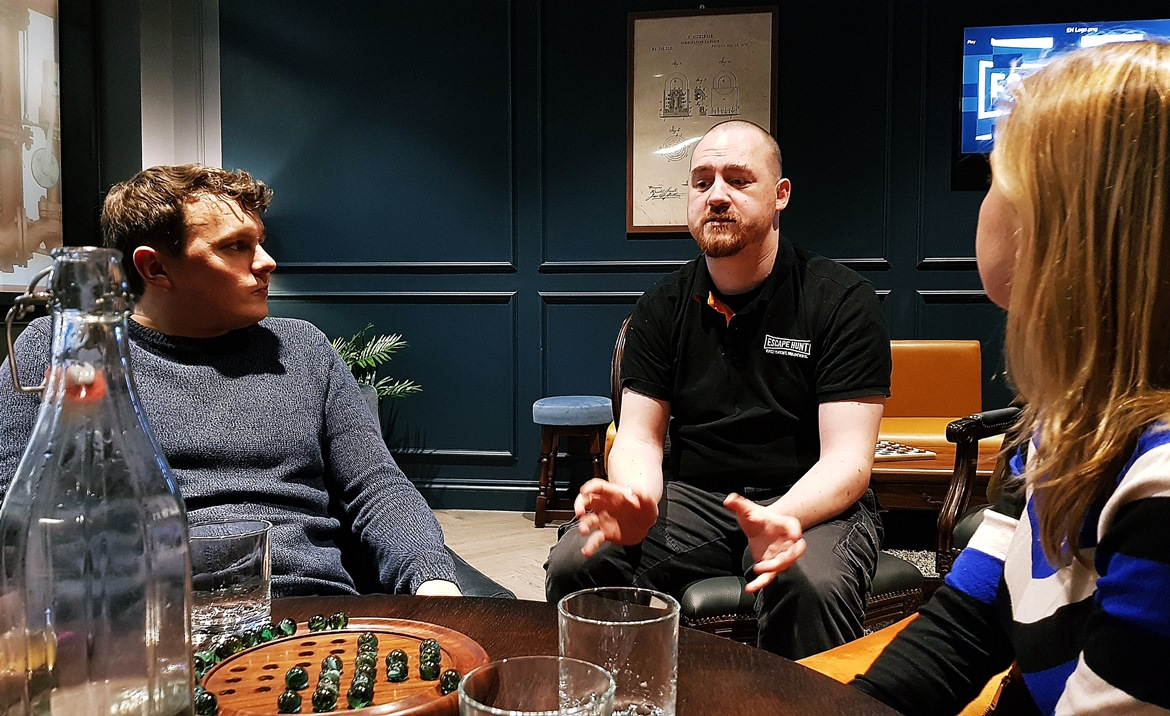 Briefing by games master Noel - Our Finest Hour, escape room by Escape Hunt Leeds, review by BeckyBecky Blogs