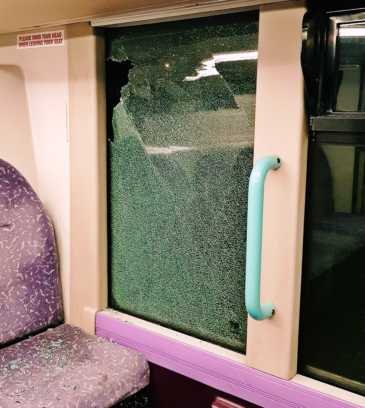 A smashed bus window - February 2018 Monthly Recap by BeckyBecky Blogs