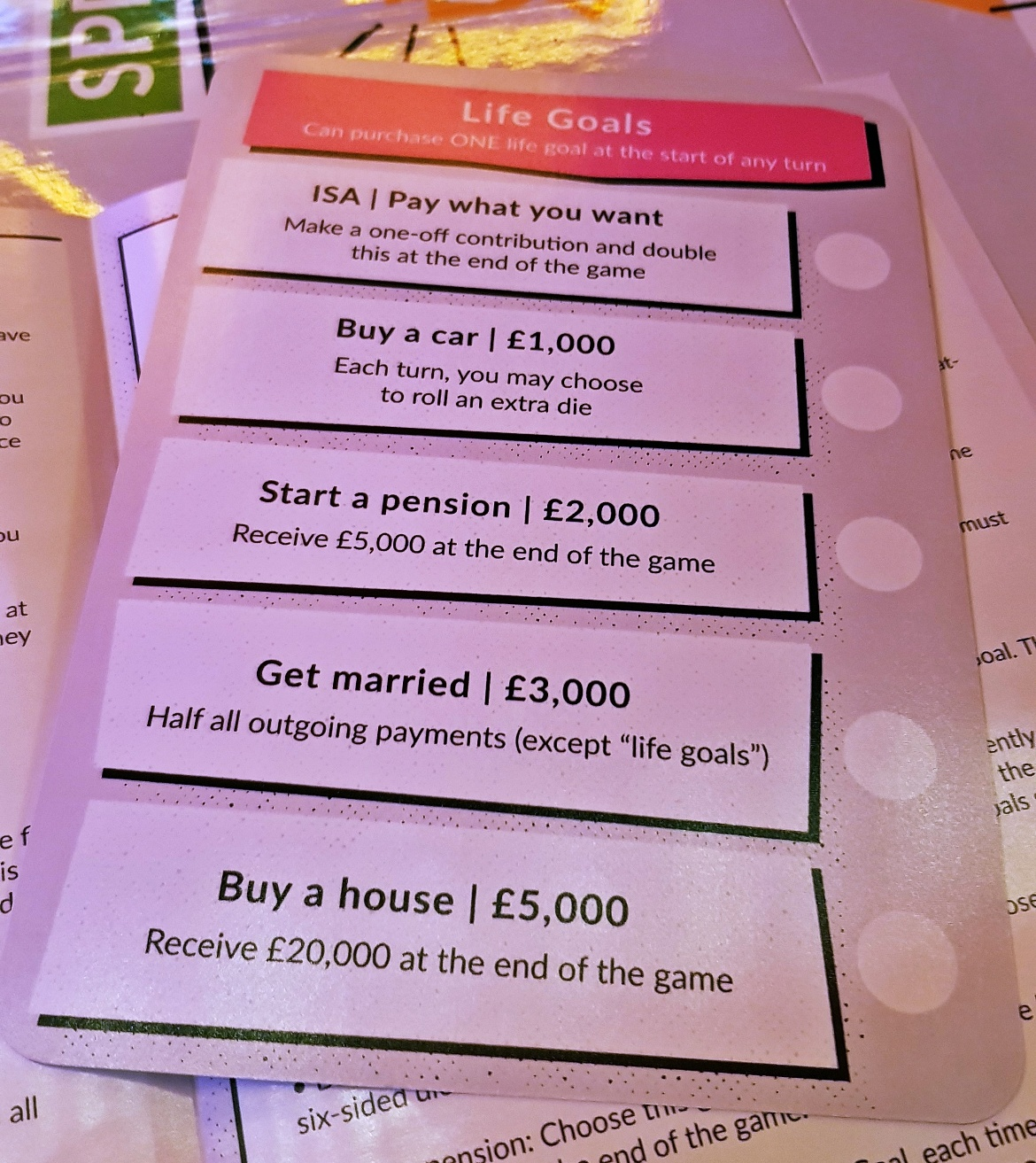 Life goals - giffgaff gameplan's Spend or Save boardgame by BeckyBecky Blogs