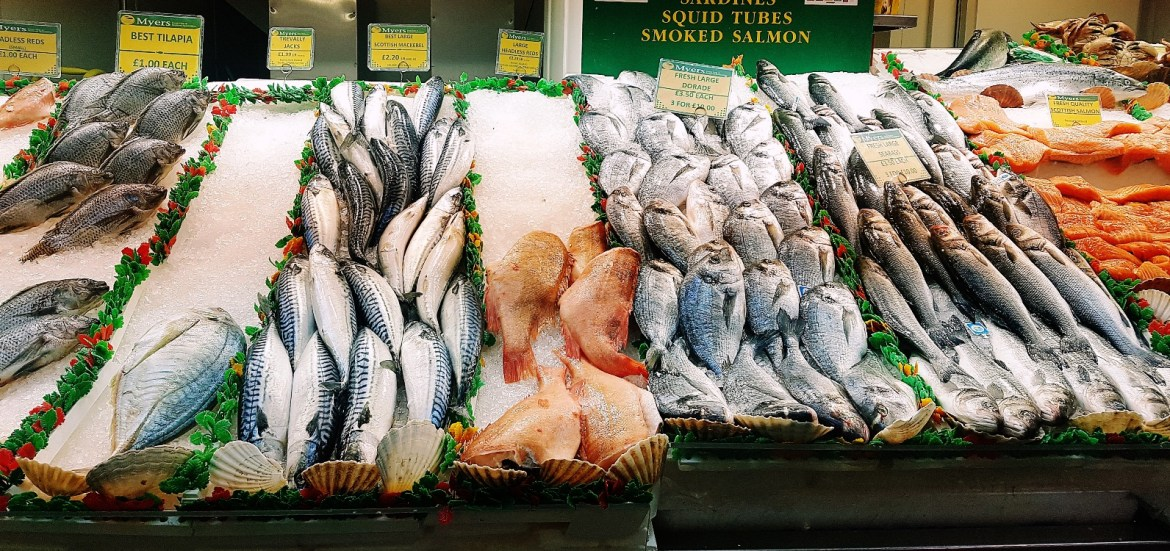 Fresh fish for sale in Kirkgate Market in Leeds