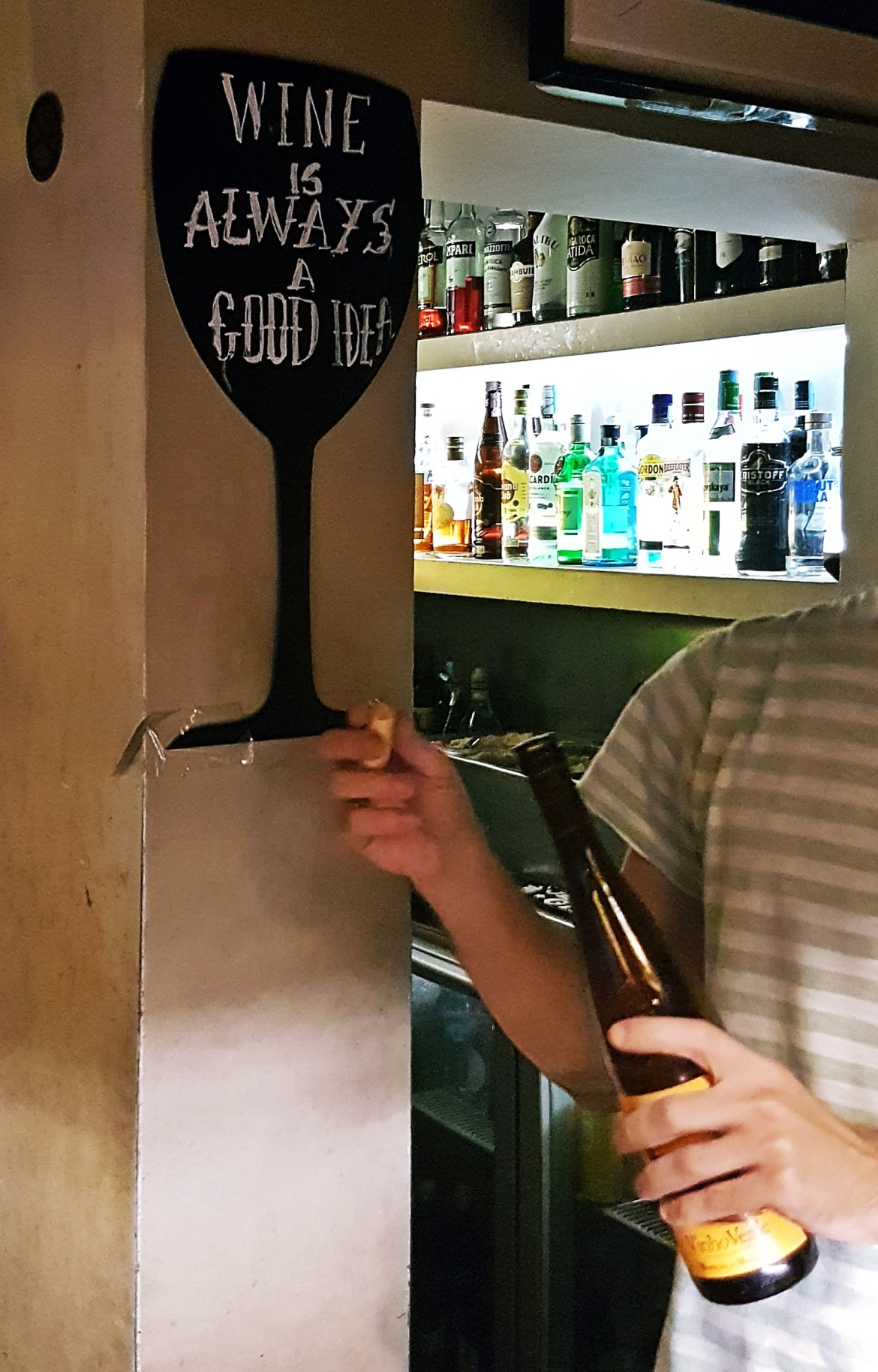 """Wine is always a good idea"" sign at Clube da Esquina - Food and Drink in Lisbon, review by BeckyBecky Blogs"