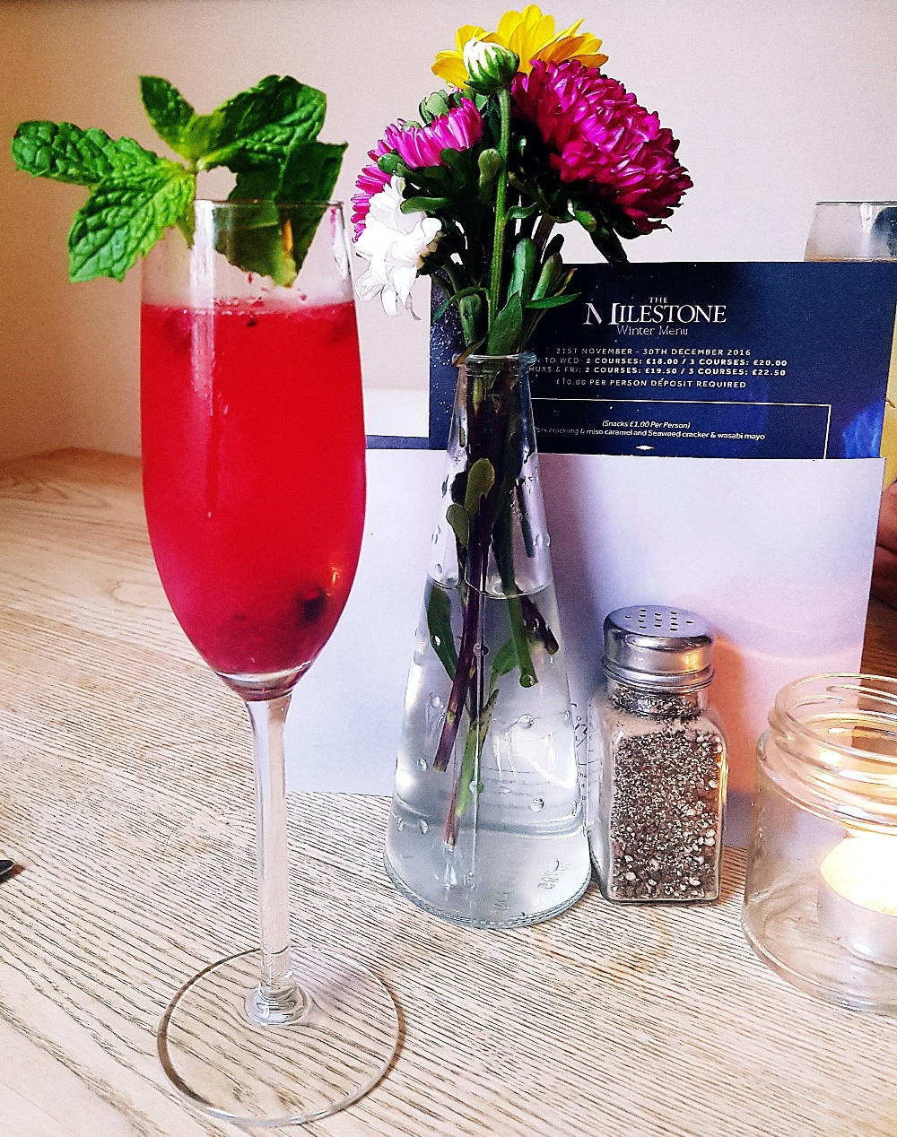 Hedgerow summer berry bellini at the Milestone Sheffield