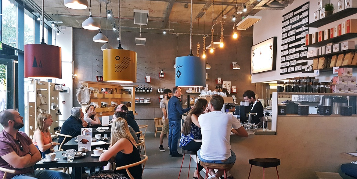 Interior of North Star Coffee Show at Leeds Dock - Review of North Star Coffee Shop by BeckyBecky Blogs