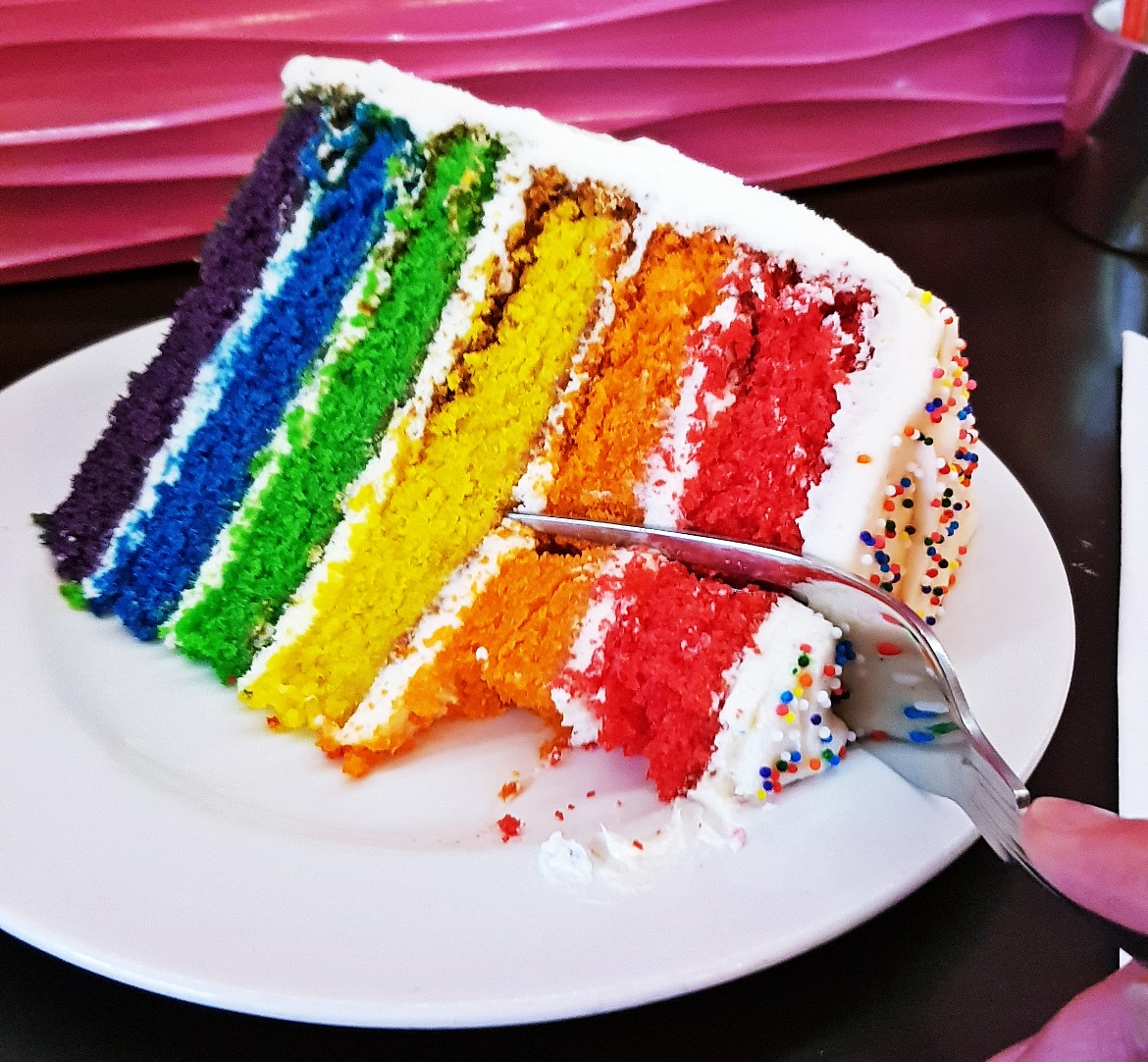 Rainbow cake at Hummingbird Bakery - October Monthly Recap by BeckyBecky Blogs