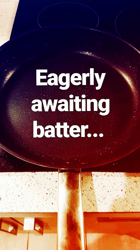 Heating the frying pan for my Pancake Day Pancake Recipe by BeckyBecky Blogs