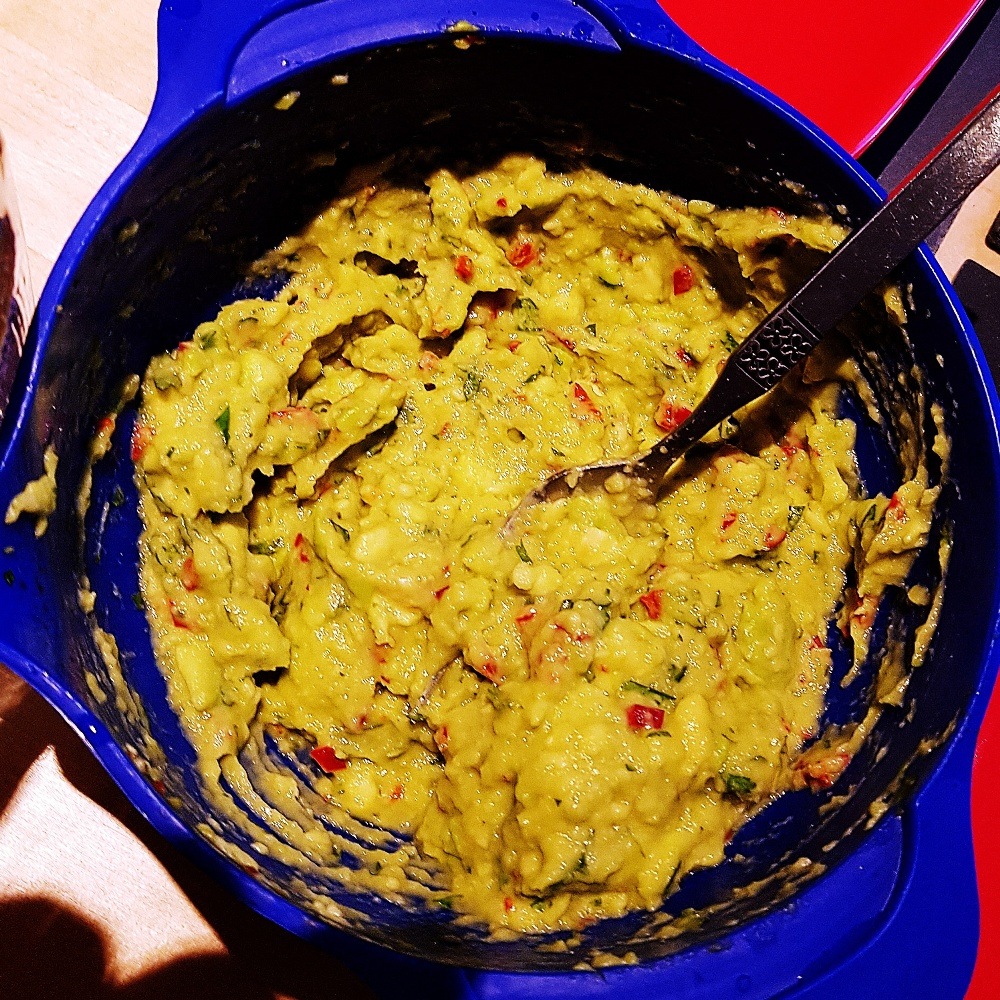 Homemade guacamole to serve with quesadillas at a dinner party