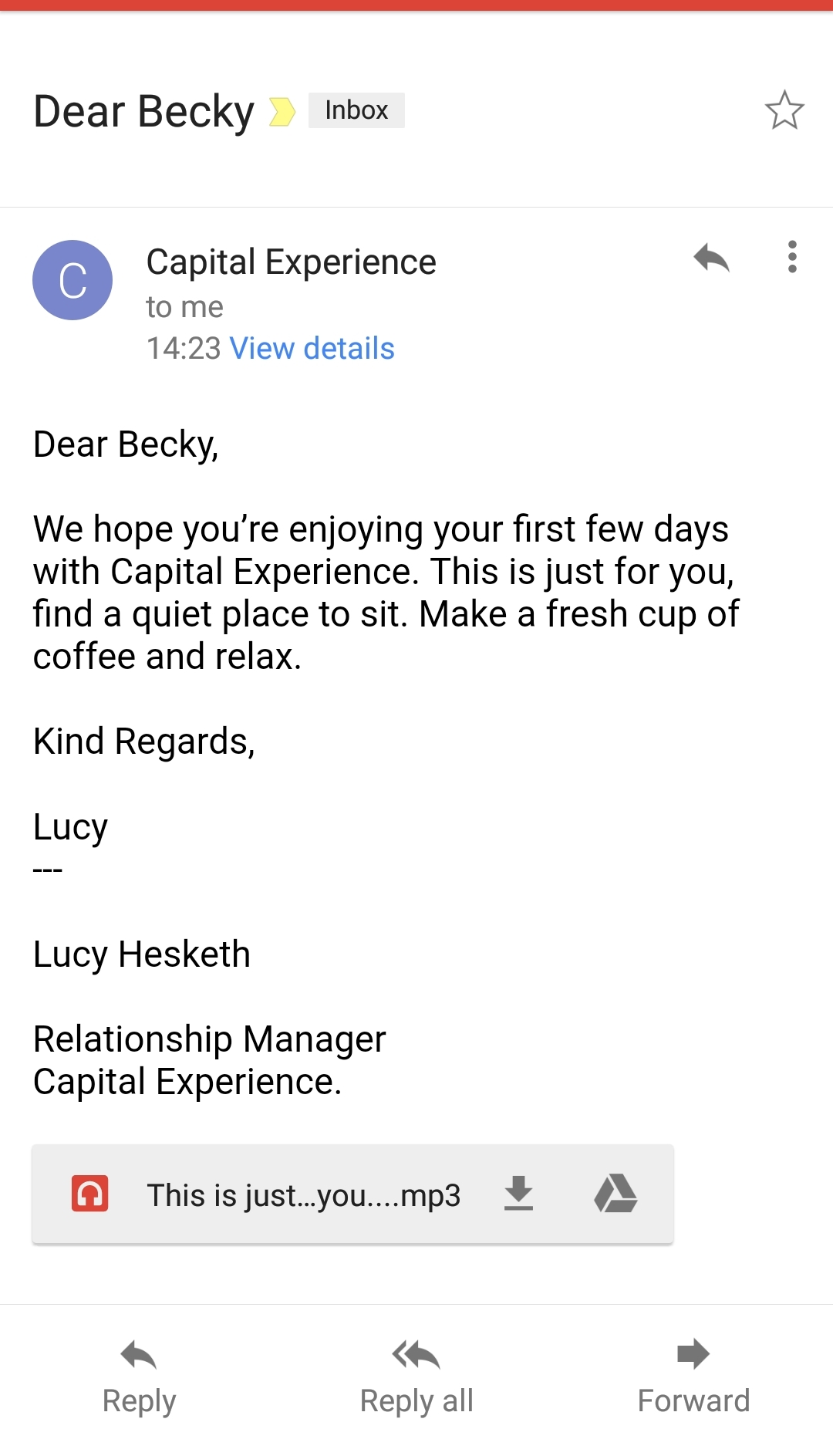 The email from Capital Experience - The Lucky Ones, immersive theatre experience by Riptide Leeds, review by BeckyBecky Blogs