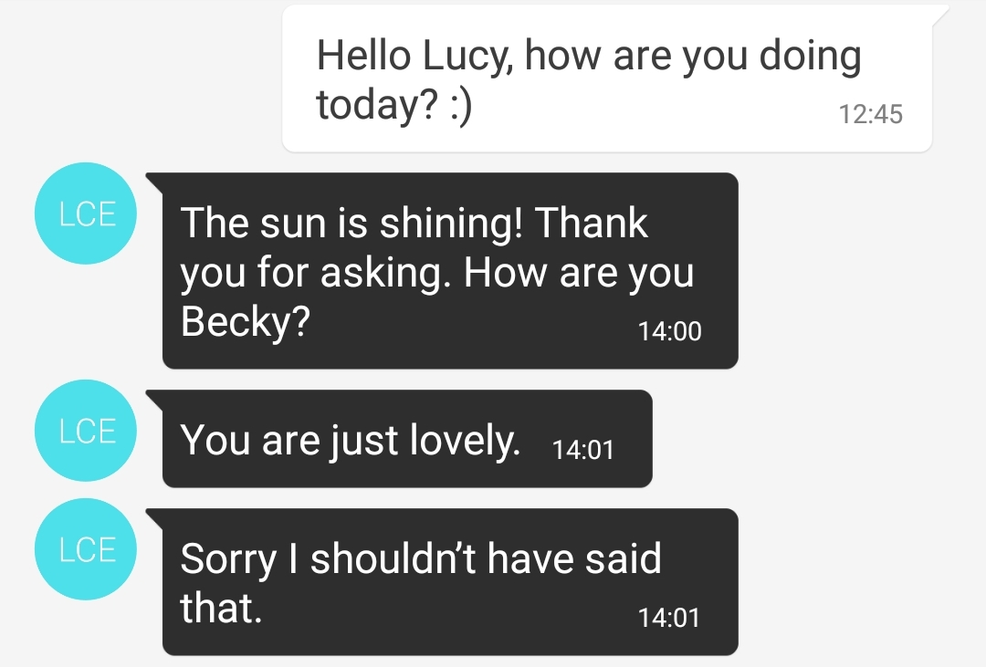 More texts from Lucy - The Lucky Ones, immersive theatre experience by Riptide Leeds, review by BeckyBecky Blogs