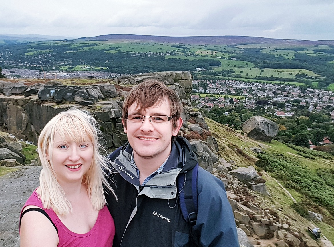 Tim and me, at the Cow and Calf on Ilkley Moor - Surviving Winter as a Summer Lover by BeckyBecky Blogs