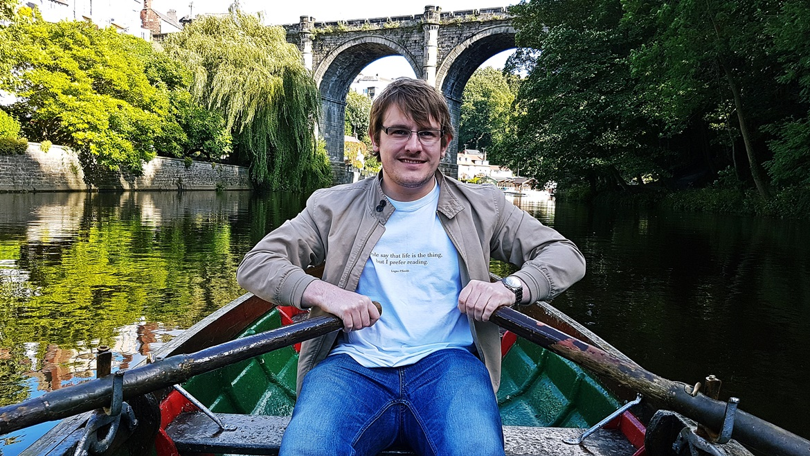 Tim rowing on the river at Knaresborough - September Monthly Recap by BeckyBecky Blogs