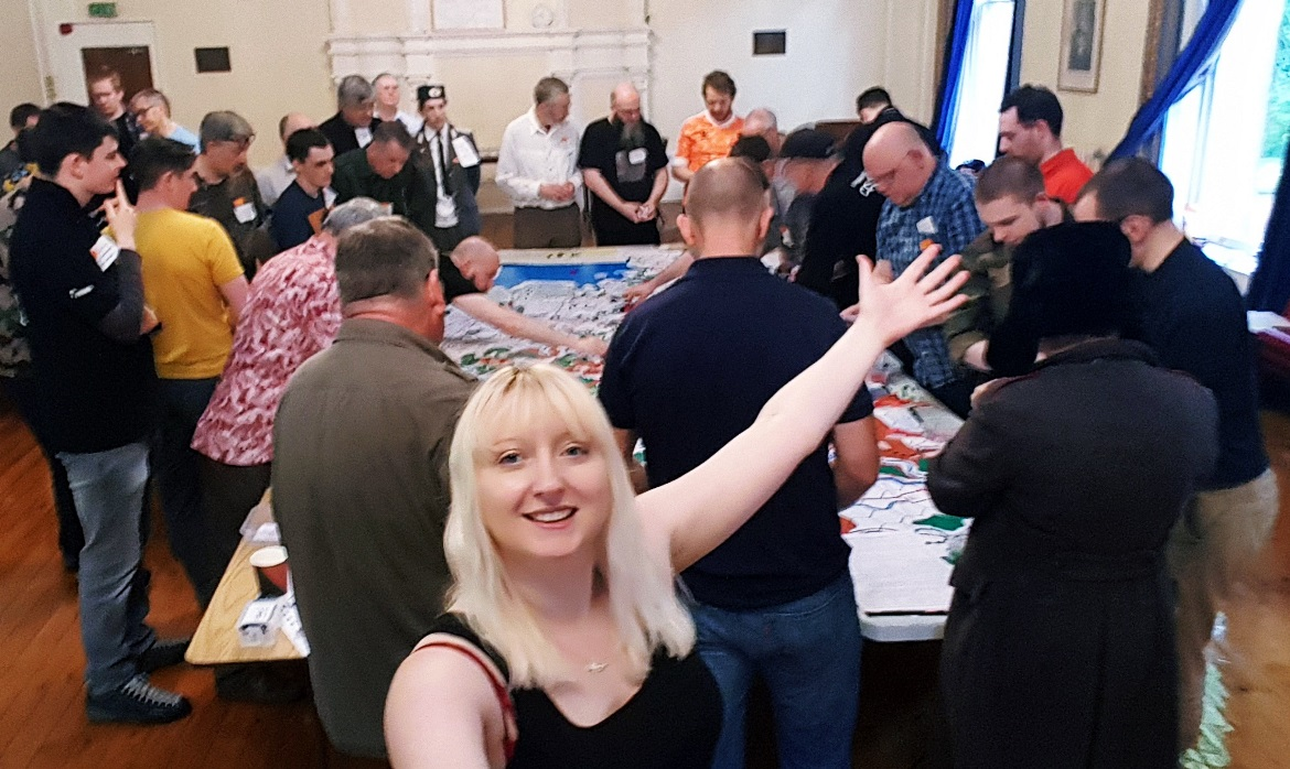 In front of the map at Still Not Over By Christmas megagame - September Monthly Recap by BeckyBecky Blogs