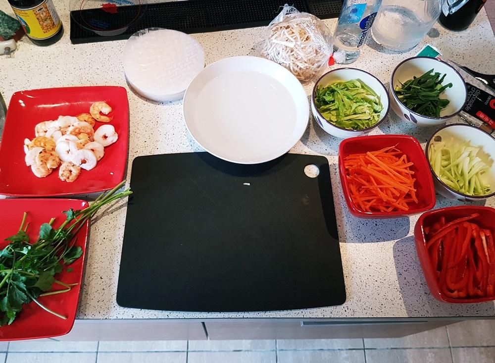 Prep station for Vietnamese Summer Rolls - Recipe by BeckyBecky Blogs