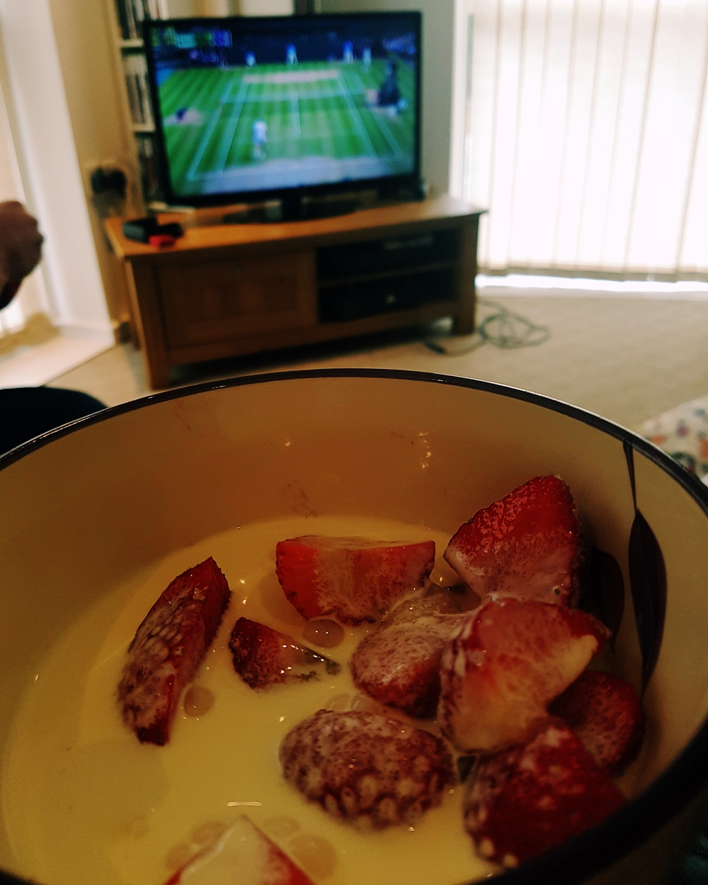 Strawberries and cream at our House Wimbledoning