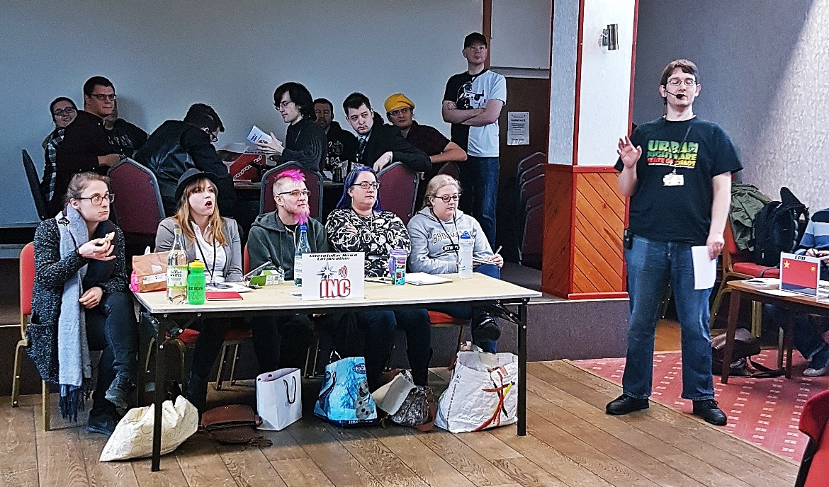 Opening briefing by John Mizon - A World Divided megagame after action report by BeckyBecky Blogs