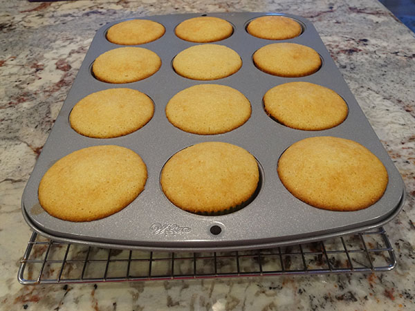 baked Eggnog Cupcakes in pan
