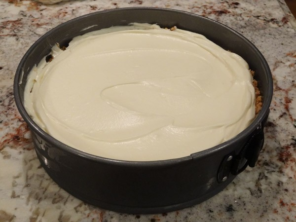 batter added to springform pan