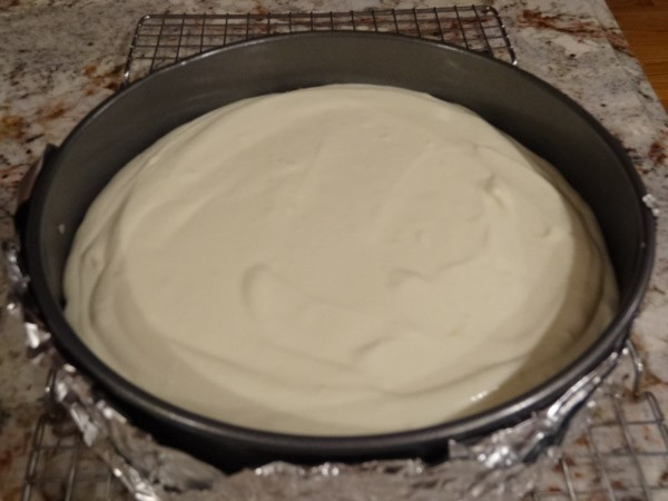 cheesecake batter added to springform pan