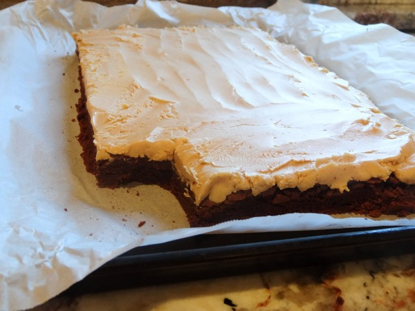 peanut butter layer added to brownie layer