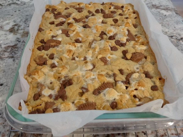 freshly baked Reese's Peanut Butter Blondies