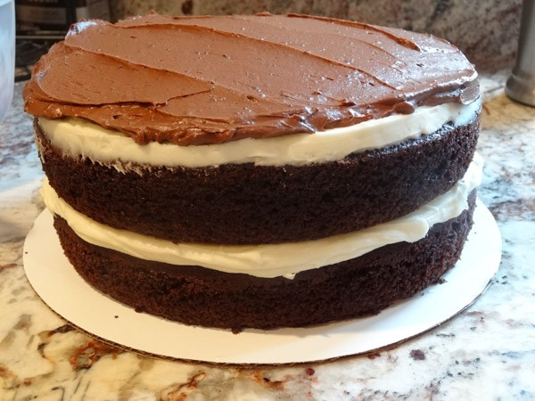 frosting of chocolate cake