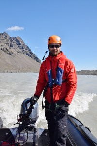 Hiking a glacier in Iceland - taking a boat across to the glacier