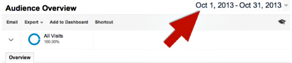 Select date range in Google Analytics