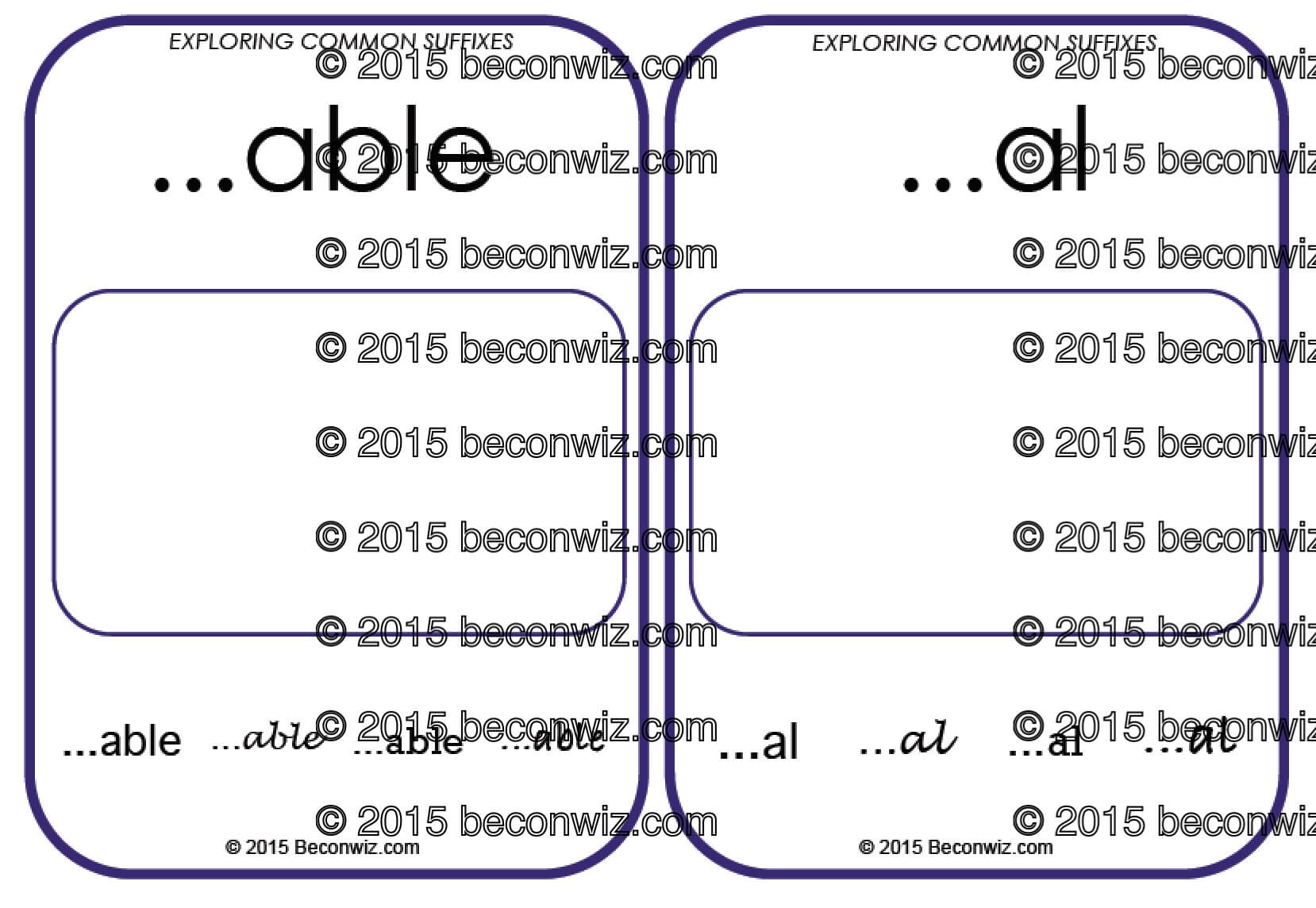 Teaching Suffixes Printable Suffix Resources
