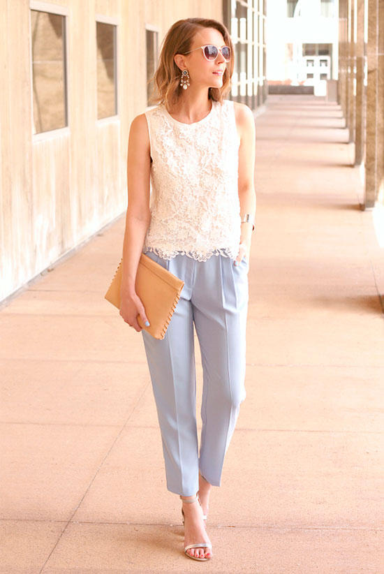 30 Chic Work Outfits to Wear this Summer: Fashion blogger 'Penny Pincher Fashion' wearing a white lace top, pale blue ankle pants, snake print heeled sandals and a beige clutch. Work outfits, summer work outfits, office wear, business casual, fashion, street style, womens fashion.