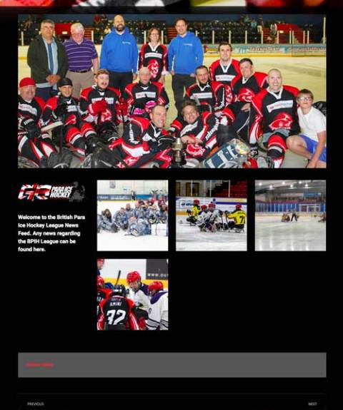 News page fro British Sledge Hockey Association website design