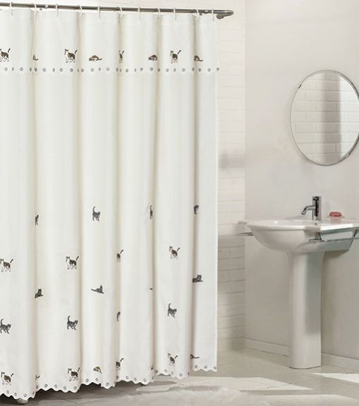 https www bedbathhome com 48 cats fabric shower curtain with attached valance html