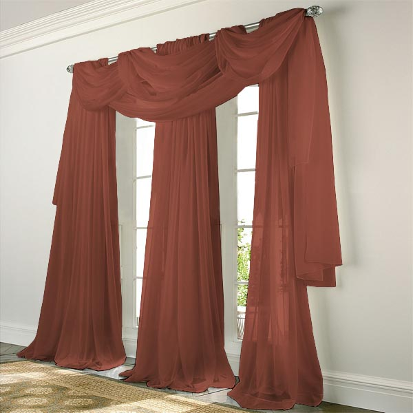 Elegance Voile CRANBERRY Sheer Curtain