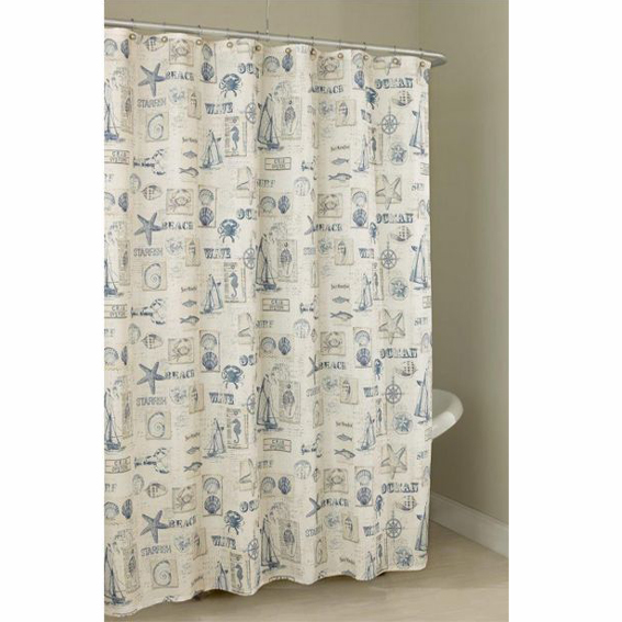 by the sea fabric shower curtain by lorraine